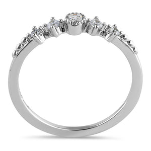 Sterling Silver Thin Half Eternity Round Cut Clear CZ Ring