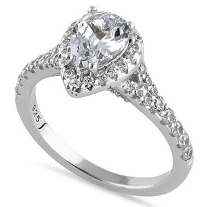 Sterling Silver Elegant Victorian Pear Cut Halo Clear CZ Engagement Ring