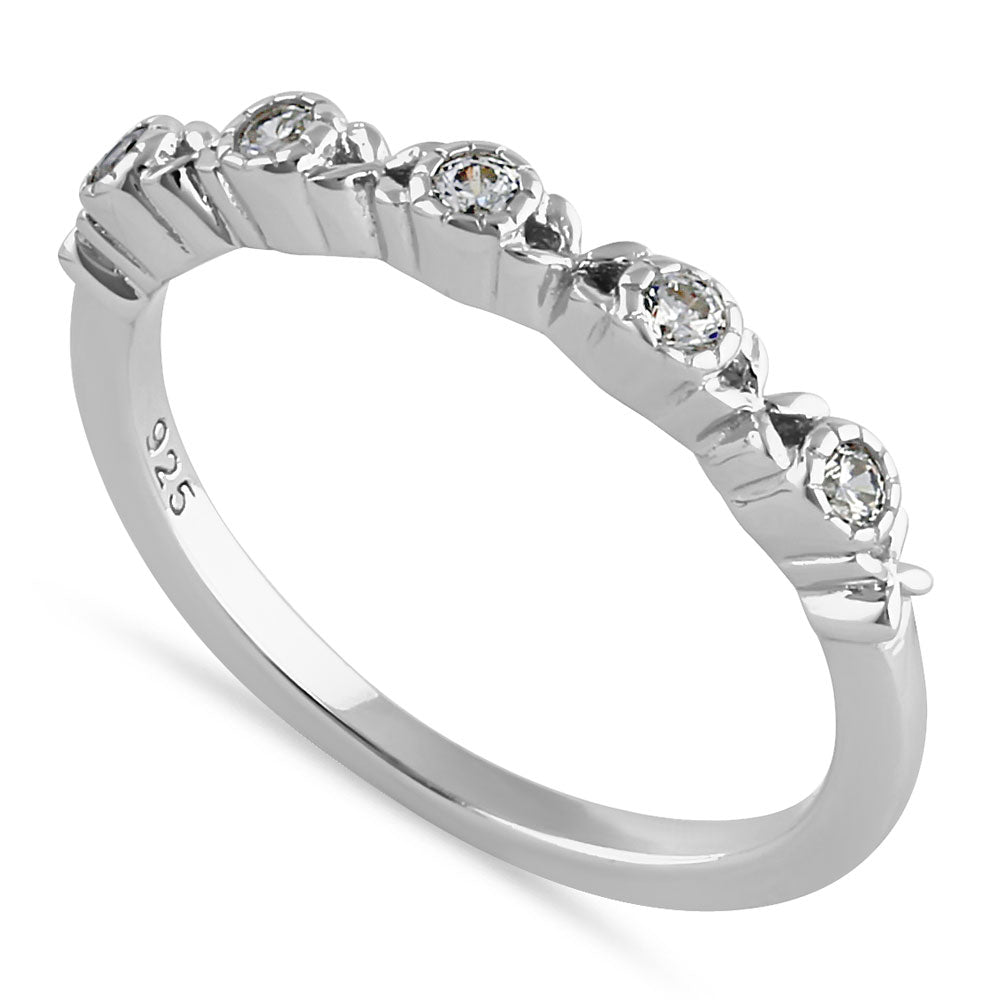 Sterling Silver Striking Half Eternity Round Cut Clear CZ Ring