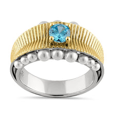 Load image into Gallery viewer, Sterling Silver Two-Tone Blue Topaz CZ and Pearl Ring