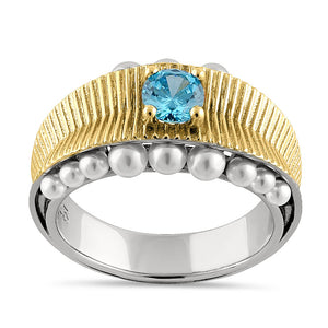 Sterling Silver Two-Tone Blue Topaz CZ and Pearl Ring