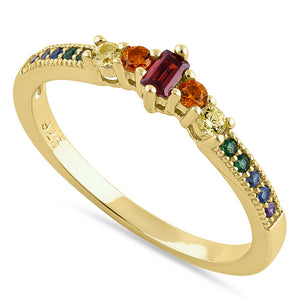 Sterling Silver Yellow Gold Emerald Cut Colorful CZ Ring