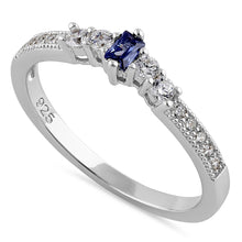 Load image into Gallery viewer, Sterling Silver Emerald Cut Dark Tanzanite CZ Ring