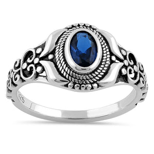 Sterling Silver Austere Oval Cut Blue Sapphire CZ Ring