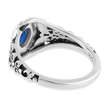 Load image into Gallery viewer, Sterling Silver Austere Oval Cut Blue Sapphire CZ Ring