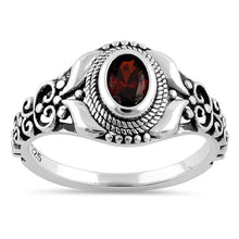 Load image into Gallery viewer, Sterling Silver Austere Oval Cut Dark Garnet CZ Ring