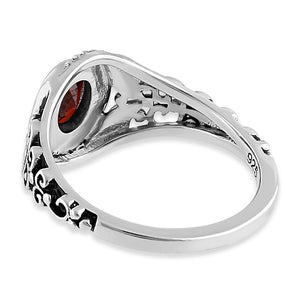 Sterling Silver Austere Oval Cut Dark Garnet CZ Ring