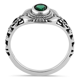 Sterling Silver Austere Oval Cut Green CZ Ring