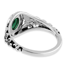 Load image into Gallery viewer, Sterling Silver Austere Oval Cut Green CZ Ring