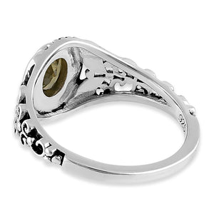 Sterling Silver Austere Oval Cut Peridot CZ Ring