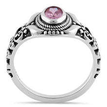 Load image into Gallery viewer, Sterling Silver Austere Oval Cut Pink CZ Ring