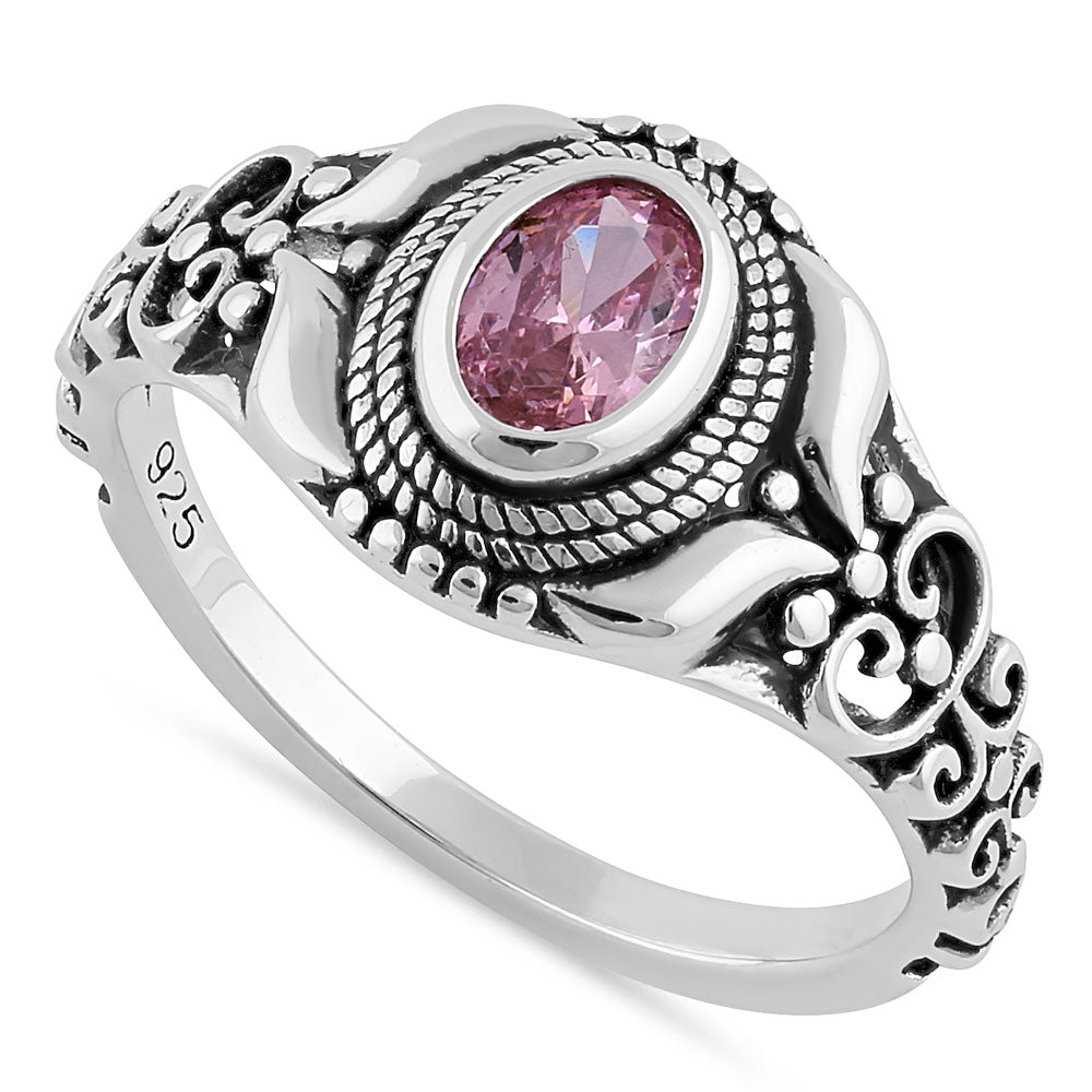 Sterling Silver Austere Oval Cut Pink CZ Ring