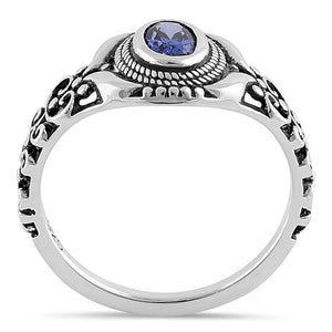 Sterling Silver Austere Oval Cut Tanzanite CZ Ring