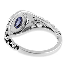 Load image into Gallery viewer, Sterling Silver Austere Oval Cut Tanzanite CZ Ring