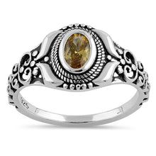 Load image into Gallery viewer, Sterling Silver Austere Oval Cut Yellow CZ Ring