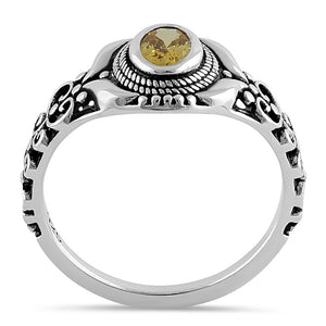 Sterling Silver Austere Oval Cut Yellow CZ Ring