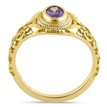 Load image into Gallery viewer, Sterling Silver Gold Plated Austere Oval Cut Amethyst CZ Ring