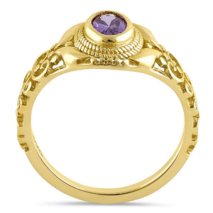 Sterling Silver Gold Plated Austere Oval Cut Amethyst CZ Ring