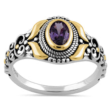 Load image into Gallery viewer, Sterling Silver Gold Plated Detailing Austere Oval Cut Amethyst CZ Ring