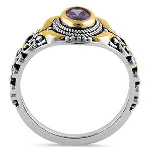 Sterling Silver Gold Plated Detailing Austere Oval Cut Amethyst CZ Ring