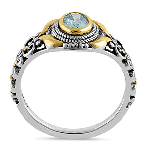 Sterling Silver Gold Plated Detailing Austere Oval Cut Aquamarine CZ Ring