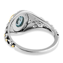 Load image into Gallery viewer, Sterling Silver Gold Plated Detailing Austere Oval Cut Aquamarine CZ Ring