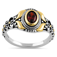 Load image into Gallery viewer, Sterling Silver Gold Plated Detailing Austere Oval Cut Dark Garnet CZ Ring