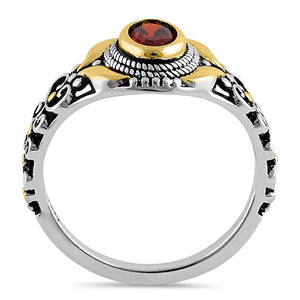 Sterling Silver Gold Plated Detailing Austere Oval Cut Dark Garnet CZ Ring