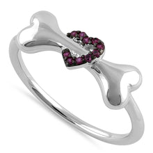 Load image into Gallery viewer, Sterling Silver Dog Bone & Heart Round Cut Ruby CZ Ring