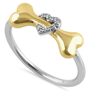 Sterling Silver Gold Plated Dog Bone & Heart Round Cut Clear CZ Ring