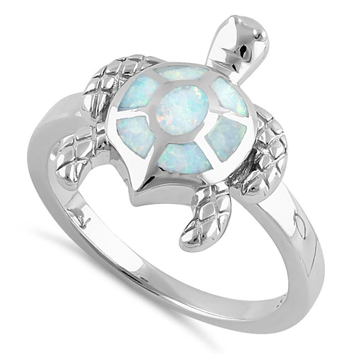 Sterling Silver Turtle White Lab Opal Ring