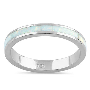 Sterling Silver Seamless White Lab Opal Ring