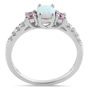 Sterling Silver Enchanted Oval White Lab Opal Pink CZ Ring