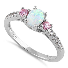 Load image into Gallery viewer, Sterling Silver Enchanted Oval White Lab Opal Pink CZ Ring