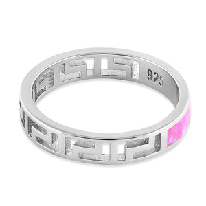 Sterling Silver Greek Pink Lab Opal Band Ring