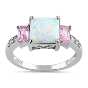 Sterling Silver Square White Lab Opal Pink CZ Ring