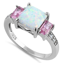 Load image into Gallery viewer, Sterling Silver Square White Lab Opal Pink CZ Ring