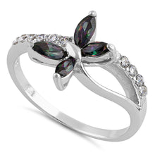 Load image into Gallery viewer, Sterling Silver Butterfly Rainbow Topaz CZ Ring