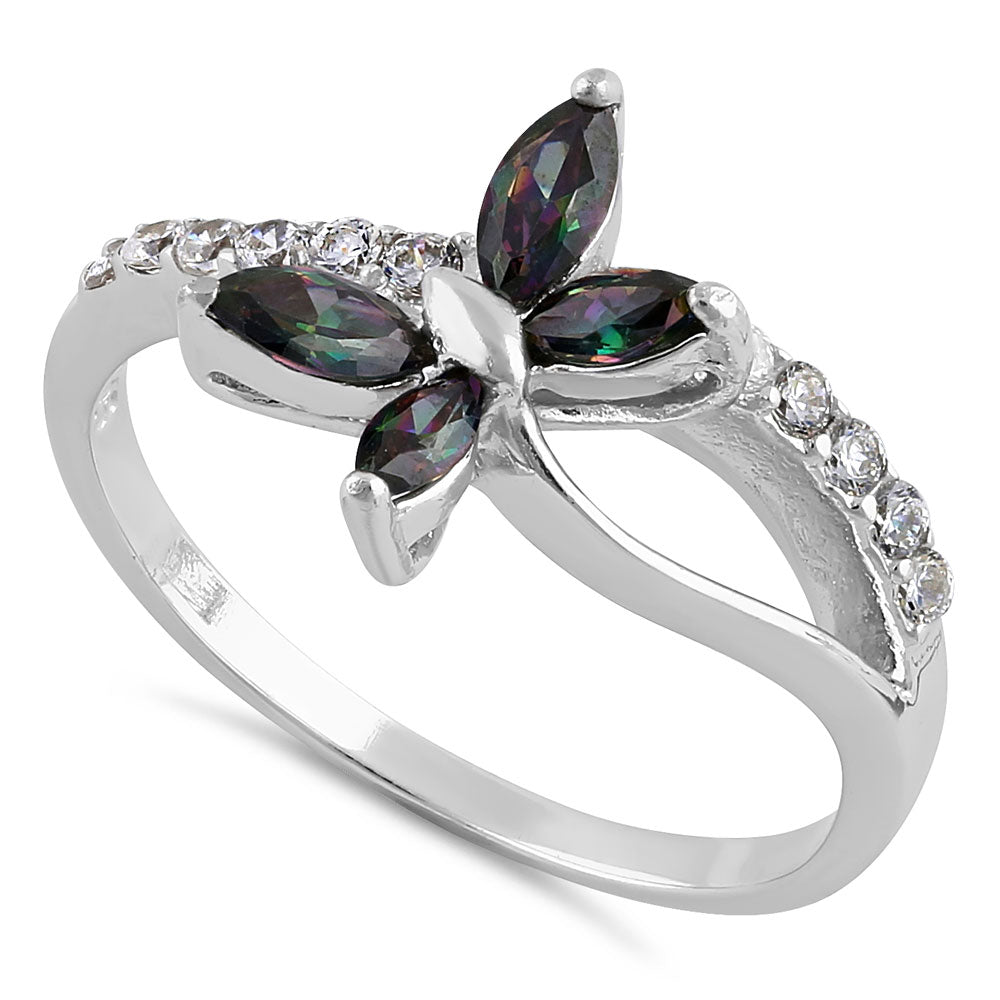 Sterling Silver Butterfly Rainbow Topaz CZ Ring