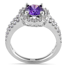 Load image into Gallery viewer, Sterling Silver Round Amethyst Halo CZ Ring