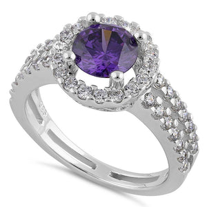 Sterling Silver Round Amethyst Halo CZ Ring