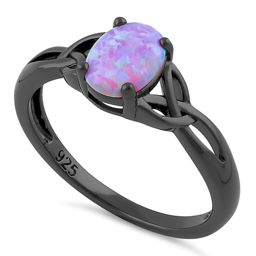 Sterling Silver Black Rhodium Plated Center Stone Charmed Pink Lab Opal Ring