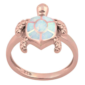 Sterling Silver Rose Gold  Turtle White Lab Opal Ring