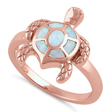 Load image into Gallery viewer, Sterling Silver Rose Gold  Turtle White Lab Opal Ring