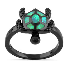 Load image into Gallery viewer, Sterling Silver  Black Rhodium Plated Turtle Green Lab Opal Ring