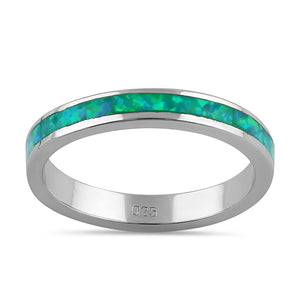 Sterling Silver Seamless Green Lab Opal Ring