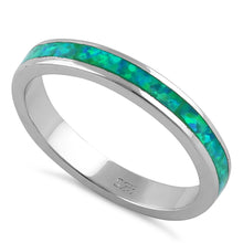 Load image into Gallery viewer, Sterling Silver Seamless Green Lab Opal Ring