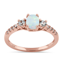 Load image into Gallery viewer, Sterling Silver Rose Gold Oval White Lab Opal CZ Ring