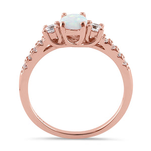 Sterling Silver Rose Gold Oval White Lab Opal CZ Ring