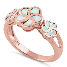 Load image into Gallery viewer, Sterling Silver Rose Gold Plumeria White Lab Opal Ring
